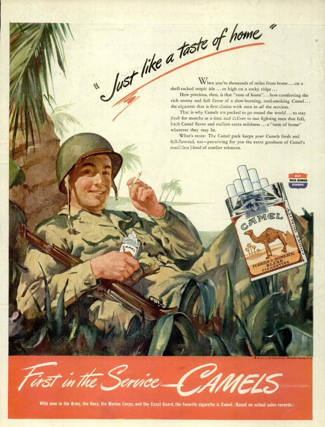 Camel Cigarette Ad July 1944