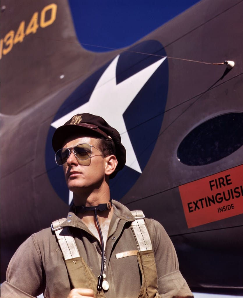 "October 1942. ""Lieutenant 'Mike' Hunter, Army test pilot assigned to Douglas Aircraft Company, Long Beach, California."" 4x5 Kodachrome transparency by Alfred Palmer for the Office of War Information"