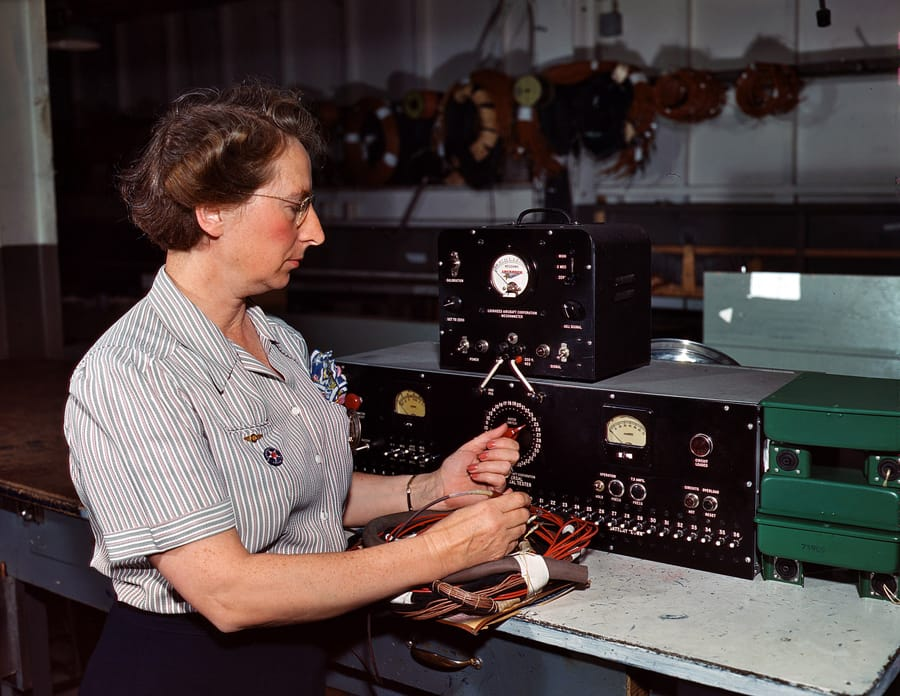"October 1942. ""Testing electric wiring at Douglas Aircraft Company. Long Beach, California."" 4x5 Kodachrome transparency by Alfred Palmer."