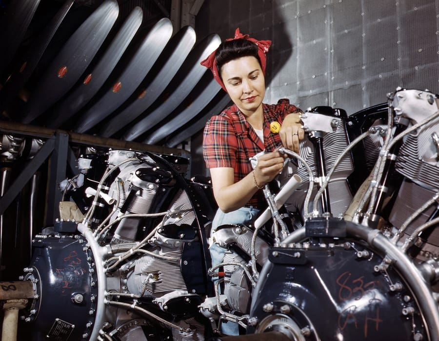 June 1942. Engine inspector for North American Aviation at Long Beach, California. 4x5 Kodachrome transparency by Alfred Palmer.