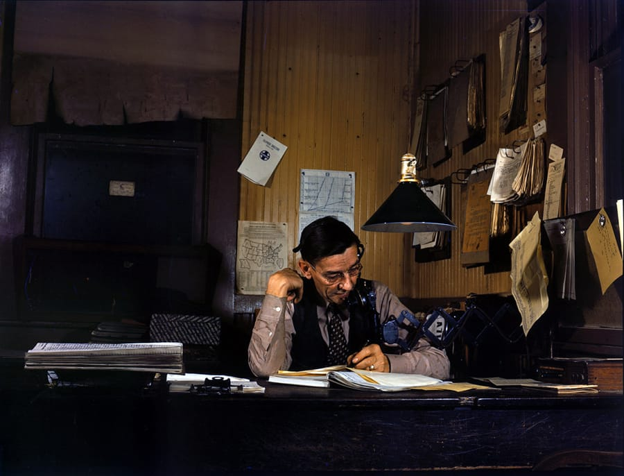 March 1943. Yardmaster at Amarillo, Texas, railyard. 4x5 Kodachrome transparency by Jack Delano, Office of War Information.
