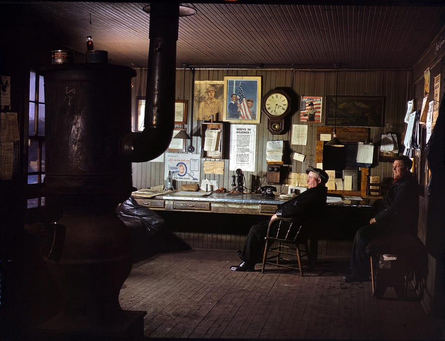 December 1942. A winter afternoon in the North Proviso yardmaster's office, Chicago & North Western Railroad. 4x5 Kodachrome transparency by Jack Delano. Click here for a closeup of the poster on the wall.