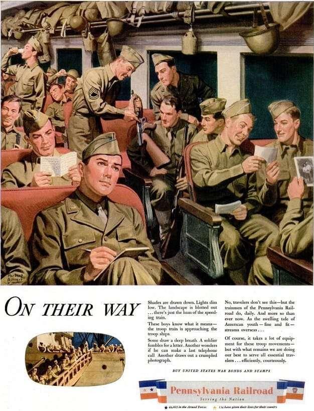 WW2 - Pennsylvania Railroad Troop Train Ad - May 1944